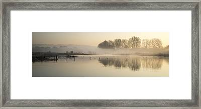 Panorama Landscape Of Lake In Mist With Sun Glow At Sunrise Framed Print by Matthew Gibson