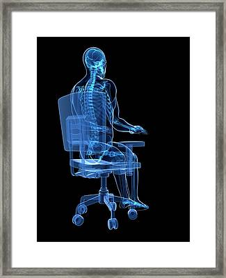 Person Sitting With Incorrect Posture Framed Print