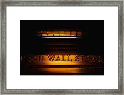 11 Wall St. Building Sign Framed Print