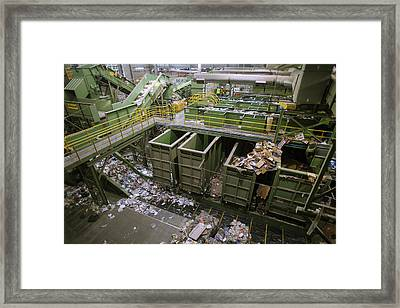Waste Sorting At A Recycling Centre Framed Print by Peter Menzel