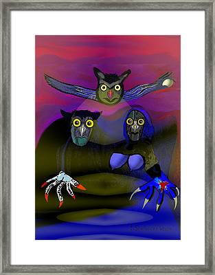 110 - The Old Owl Family Framed Print
