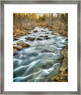 1104-5570 Falling Water Creek  Framed Print by Randy Forrester