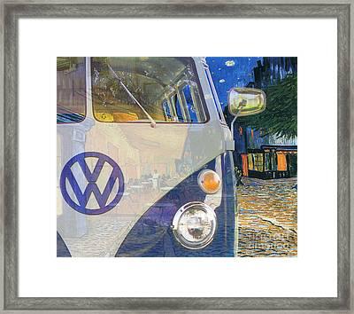 110909 Bluechip Volkswagen Microbus Type2 Vangogh Tribute Framed Print by BlueChip Luigi Gallone