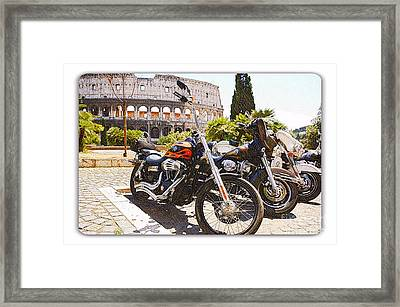 110th Anniversary Harley Davidson Under Colosseum Framed Print by Stefano Senise