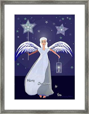 1147 - Merry Christmas Card Framed Print by Irmgard Schoendorf Welch