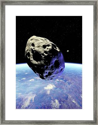 Asteroid Approaching Earth Framed Print by Detlev Van Ravenswaay