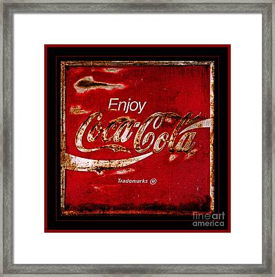 Coca Cola Classic Vintage Rusty Sign Framed Print