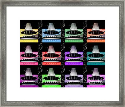 12 Color Guitars Framed Print by Andee Design