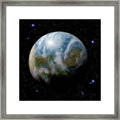 Earth-like Alien Planet Framed Print by Detlev Van Ravenswaay