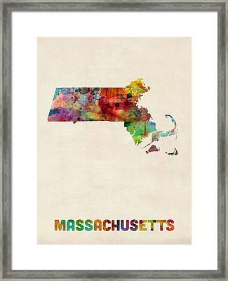 Massachusetts Watercolor Map Framed Print by Michael Tompsett