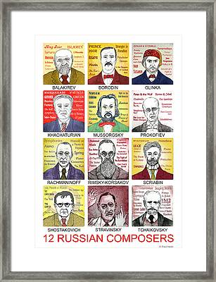 12 Russian Composers Framed Print by Paul Helm