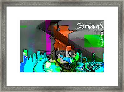 Sacramento Map And Skyline Watercolor Framed Print