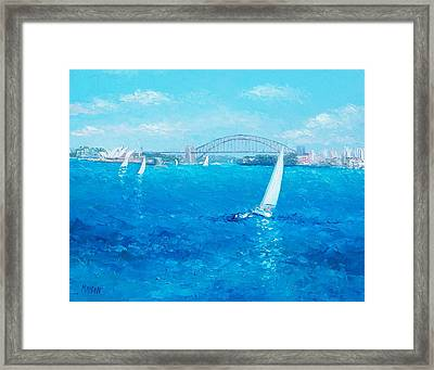 Sydney Harbour Sail Boats And The Opera House By Jan Matson Framed Print