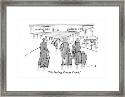 Nice Landing Framed Print by Michael Crawford