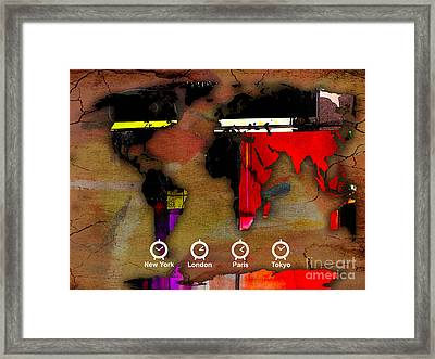 World Map Watercolor Framed Print by Marvin Blaine