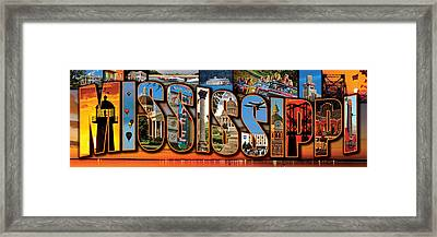 12 X 36 Horizontal Mississippi Postcard Version 1 Framed Print