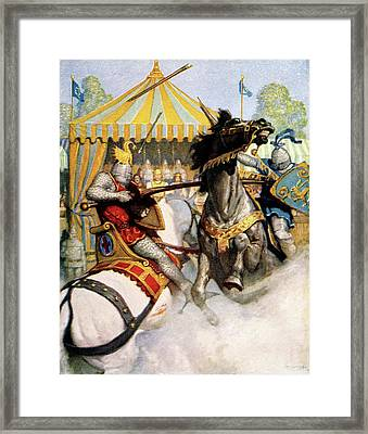 1200s Two Jousting Medieval Knights Framed Print