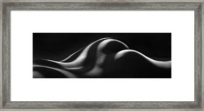 1220 Zebra Striped Nude Back And Bottom Fine Art Bw Nude 1 To 3 Ratio Framed Print