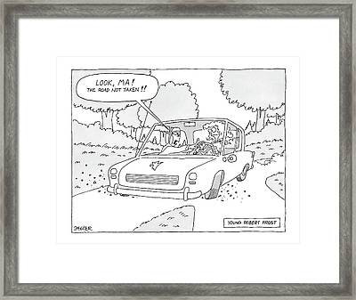 Young Robert Frost Framed Print by Jack Ziegler