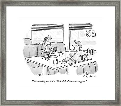 She's Texting Framed Print by Leo Cullum