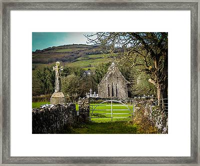 12th Century Cross And Church In Ireland Framed Print