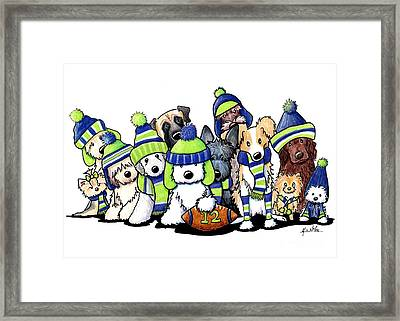 12 Dogs Illustration Framed Print by Kim Niles