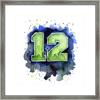 12th Man Seahawks Art Seattle Go Hawks Framed Print by Olga Shvartsur