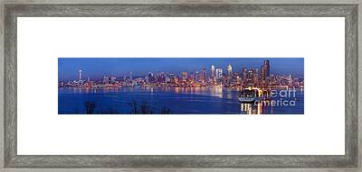 12th Man Seattle Skyline Reflection Framed Print by Mike Reid