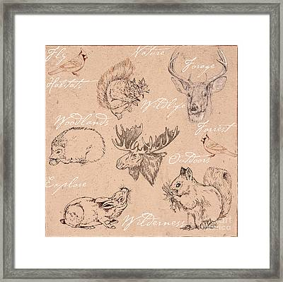 Wildlife Animal Pattern Framed Print