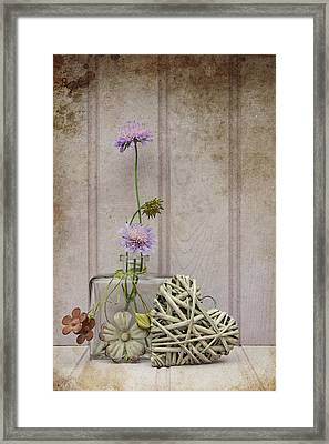 Beautiful Flower In Vase With Heart Still Life Love Concept Framed Print by Matthew Gibson