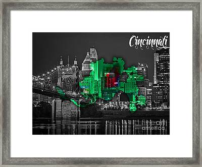 Cincinnati Map And Skyline Watercolor Framed Print by Marvin Blaine