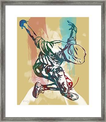 Hip Hop Street Dancing  Pop Stylised Art Poster Framed Print by Kim Wang