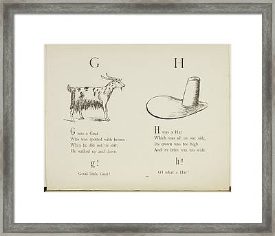 Nonsense Alphabets By Edward Lear Framed Print by British Library