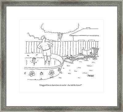 I Begged Him To Learn How To Swim - But Framed Print by Jack Ziegler