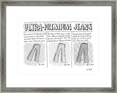 Ultra-premium Jeans Framed Print by Roz Chast