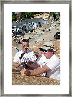 Habitat For Humanity House Building Framed Print by Jim West