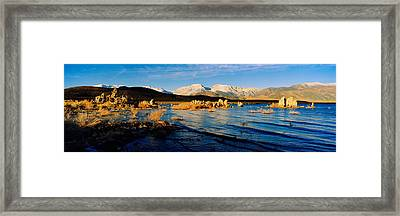 Lake With Mountains In The Background Framed Print by Panoramic Images