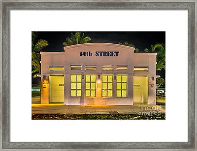 14th Street Art Deco Toilet Block Sobe Miami Framed Print by Ian Monk