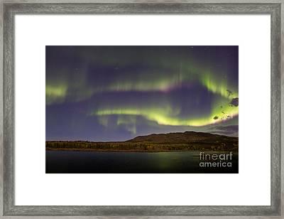 Aurora Borealis With Moonlight At Fish Framed Print by Joseph Bradley