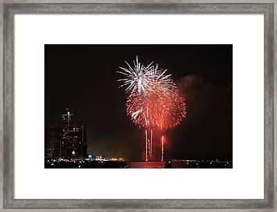 Detroit Fireworks Framed Print