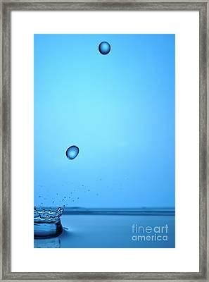 Splashing Water Droplet Framed Print by Sami Sarkis