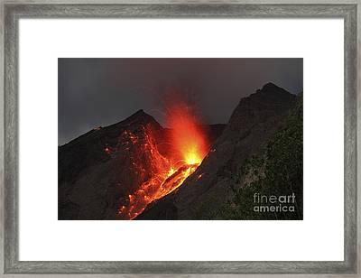 Strombolian Type Eruption Of Batu Tara Framed Print by Richard Roscoe