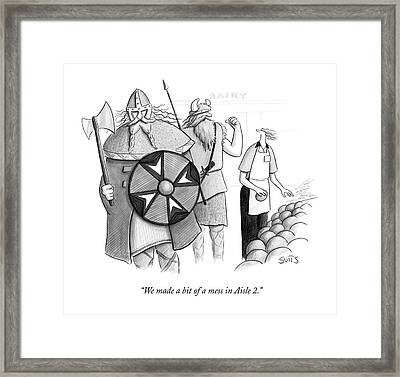 We Made A Bit Of A Mess In Aisle 2 Framed Print by Julia Suits