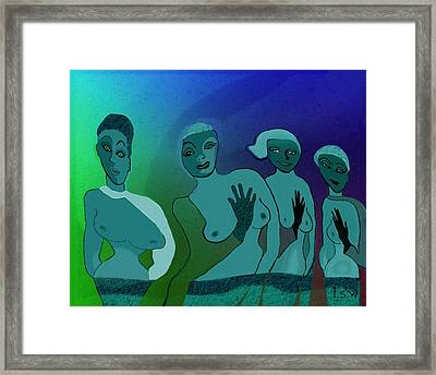 154 -  Blue Green Ladies   Framed Print by Irmgard Schoendorf Welch