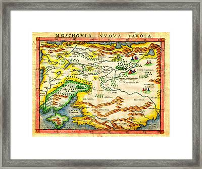 1574 Ruscelli Map Of Russia Muscovy  And Ukraine Geographicus Moschovia Porcacchi 1572 Framed Print by MotionAge Designs