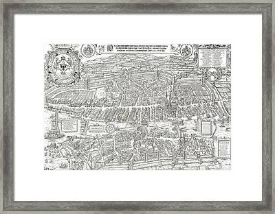 1576 Zurich Switzerland Map Framed Print by Daniel Hagerman