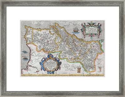 1579 Ortelius Map Of Portugal  Framed Print by Paul Fearn