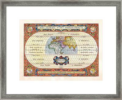 1590 Historical World Rare Map Aevi Veteris Typus Geographicus Framed Print by Karon Melillo DeVega