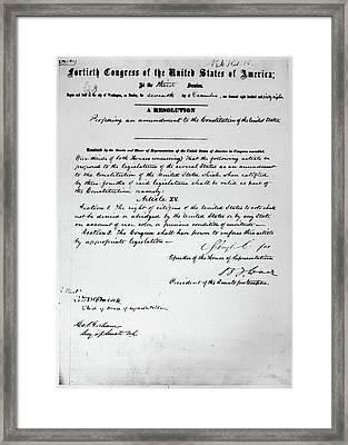 15th Amendment, 1868 Framed Print