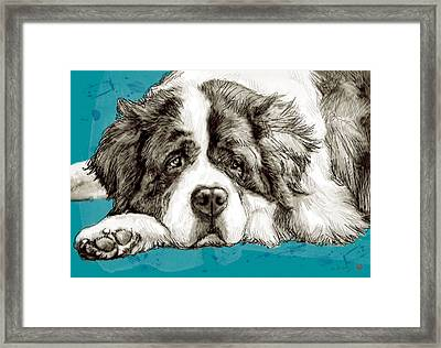Dog Stylised Pop Modern Art Drawing Sketch Portrait Framed Print